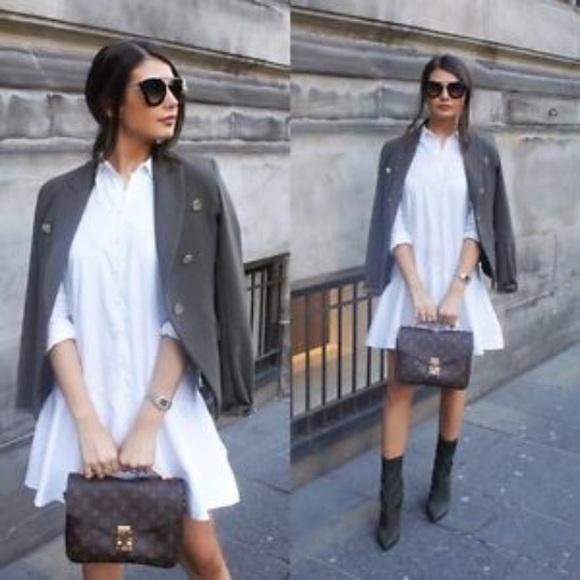 30c0ea3d Zara white shirt dress with ruffle base. M_5a514dfaa6e3ea5acf025e96